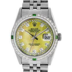 Rolex Mens Stainless Steel Yellow MOP Diamond & Emerald Datejust Wristwatch