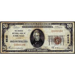 1929 $20 NB of Chicago, IL CH# 6535 National Currency Note