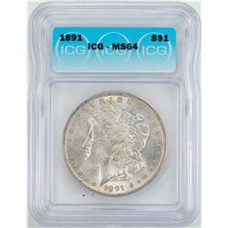 1891 $1 Morgan Silver Dollar Coin ICG MS64