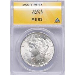 1923 $1 Peace Silver Dollar Coin ANACS MS63 Rim Clip