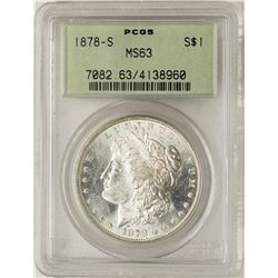 1878-S $1 Morgan Silver Dollar Coin PCGS MS63 Old Green Holder