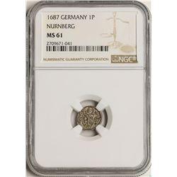 1687 Germany Nurnberg Pfennig Coin NGC MS61