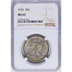 1934 Walking Half Dollar Coin NGC MS63