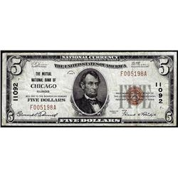 1929 $5 NB of Chicago, IL CH# 11092 National Currency Note