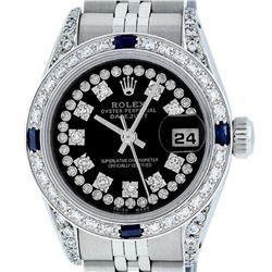 Rolex Ladies Stainless Steel 26MM Black String Diamond & Sapphire Datejust Wristwatch
