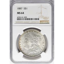 1887 $1 Morgan Silver Dollar Coin NGC MS64 Nice Toning Reverse