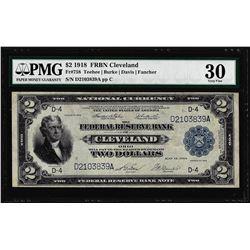 1918 $2 Battleship Federal Reserve Note Cleveland Fr.758 PMG Very Fine 30