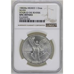 1983Mo Mexico Libertad Onza Doubled Die Reverse Silver Coin NGC Unc Details