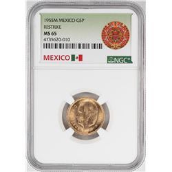 1955M Mexico 5 Pesos Gold Coin NGC MS65