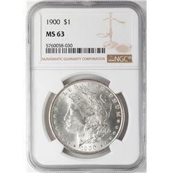 1900 $1 Morgan Silver Dollar Coin NGC MS63