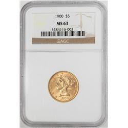 1900 $5 Liberty Head Half Eagle Gold Coin NGC MS63