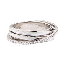 14KT White Gold 0.25 ctw Diamond Crossover Ring