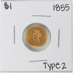 1855 $1 Type 2 Indian Princess Head Gold Dollar Coin