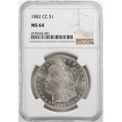 1882-CC $1 Morgan Silver Dollar Coin NGC MS64