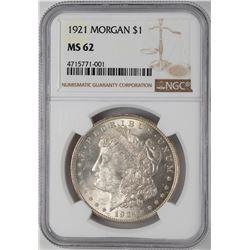 1921 $1 Morgan Silver Dollar Coin NGC MS62