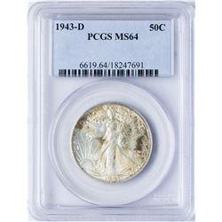 1943-D Walking Liberty Half Dollar Coin PCGS MS64