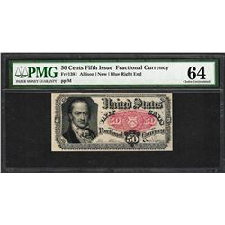 1874 50 Cent Fifth Issue Fractional Currency Note Fr.1381 PMG Choice Uncirculated 64