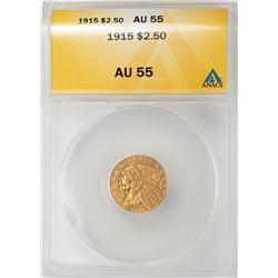 1915 $2 1/2 Indian Head Quarter Eagle Gold Coin ANACS AU55