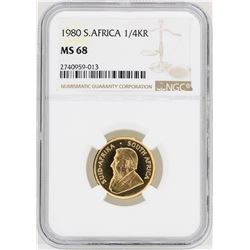 1980 South Africa 1/4 Krugerrand Gold Coin NGC MS68