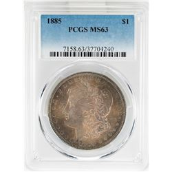 1885 $1 Morgan Silver Dollar Coin PCGS MS63 Nice Toning