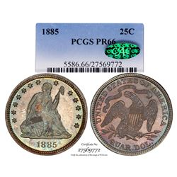 1885 Proof Seated Liberty Quarter Coin Coin PCGS PR66 CAC Amazing Toning
