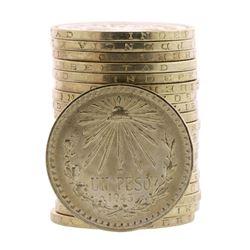Roll of (20) Brilliant Uncirculated 1943-1945 Mexico Un Peso Silver Coins