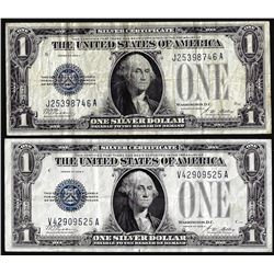 Lot of (2) 1928A $1 Funnyback Silver Certificate Notes