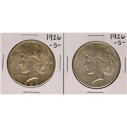 Lot of (2) 1926-S $1 Peace Silver Dollar Coins