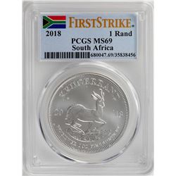 2018 South Africa Krugerrand Silver Coin PCGS MS69 First Issue