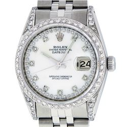 Rolex Mens Stainless Steel MOP Diamond Lugs Datejust Wristwatch With Rolex Box