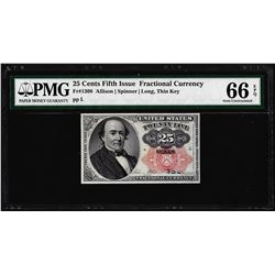 1874 25 Cents Fifth Issue Fractional Currency Note Fr.1309 PMG Gem Uncirculated 66EPQ