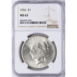 1926 $1 Peace Silver Dollar Coin NGC MS63