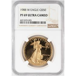 1988-W $50 Proof American Gold Eagle Coin NGC PF69 Ultra Cameo