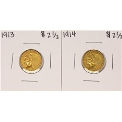 Lot of 1913-1914 $2 1/2 Indian Head Quarter Eagle Gold Coins
