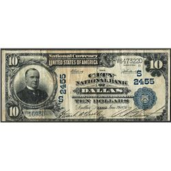 1902 $10 City NB of Dallas, TX CH# 2455 National Currency Note