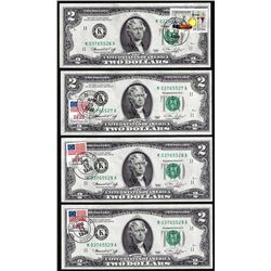Lot of (4) Consecutive 1976 $2 Federal Reserve Notes Dallas First Day Stamps