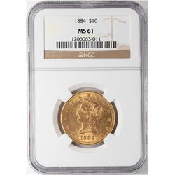 1884 $10 Liberty Head Eagle Gold Coin NGC MS61