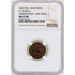 1863 Civil War Token Washington - New York NGC MS62BN
