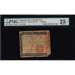1771 Pennsylvania 5 Shillings Colonial Note Hopkinson Signature PMG Very Fine 25 Net