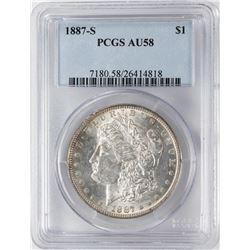1887-S $1 Morgan Silver Dollar Coin PCGS AU58