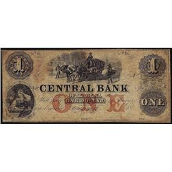 1800's $1 The Central Bank of Alabama Obsolete Note