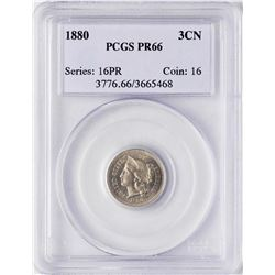 1880 Proof Three Cent Nickel Coin PCGS PR66