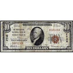 1929 $10 Huntington NB of Columbus, OH CH# 7745 National Currency Note