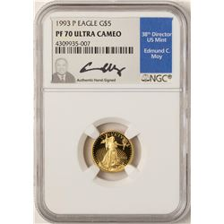 1993-P $5 American Gold Eagle Proof Coin NGC PF70 W/Edmund C. Moy Signature
