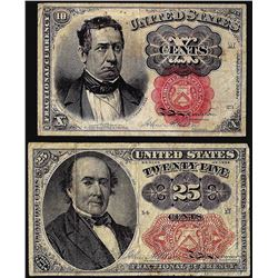 Lot of 1874 Fifth Issue 10 Cent and 25 Cent Fractional Currency Notes