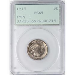 1913 Type 1 Buffalo Nickel Coin PCGS MS65 Old Green Rattler