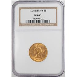 1908 $5 Liberty Head Half Eagle Gold Coin NGC MS63