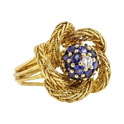 18KT Yellow Gold 1.00 ctw Sapphire and Diamond Ladies Ring