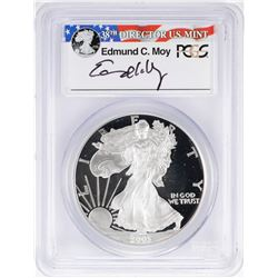 2003-W $1 American Silver Eagle Proof Coin PCGS PR69DCAM W/Edmund C. Moy Signature