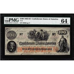 1862-63 $100 Confederate States of America Note T-41 PMG Choice Uncirculated 64